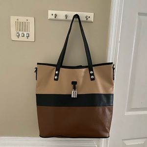 Handbags - Large Beige Brown & Black Tote Bag Laptop Bag